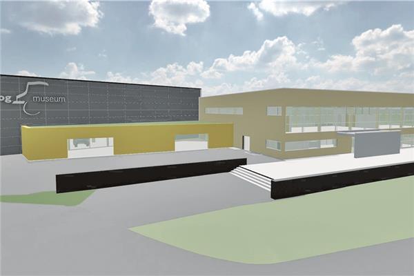 Das Unimog-Museum mit dem geplanten Anbau (links). Visualisierung: Architekturbüro Kohlbecker