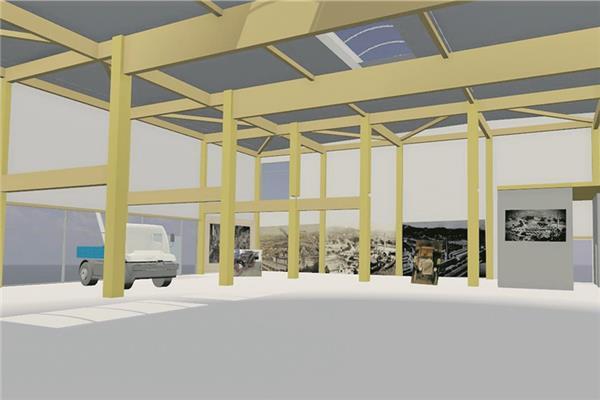 Fahrzeuge und Bilder sowie verschiedene Monitore könnten in dem Anbau untergebracht werden. Das Holzgerüst ist für eine mögliche spätere Empore vorgesehen. Visualisierung: Architekturbüro Kohlbecker